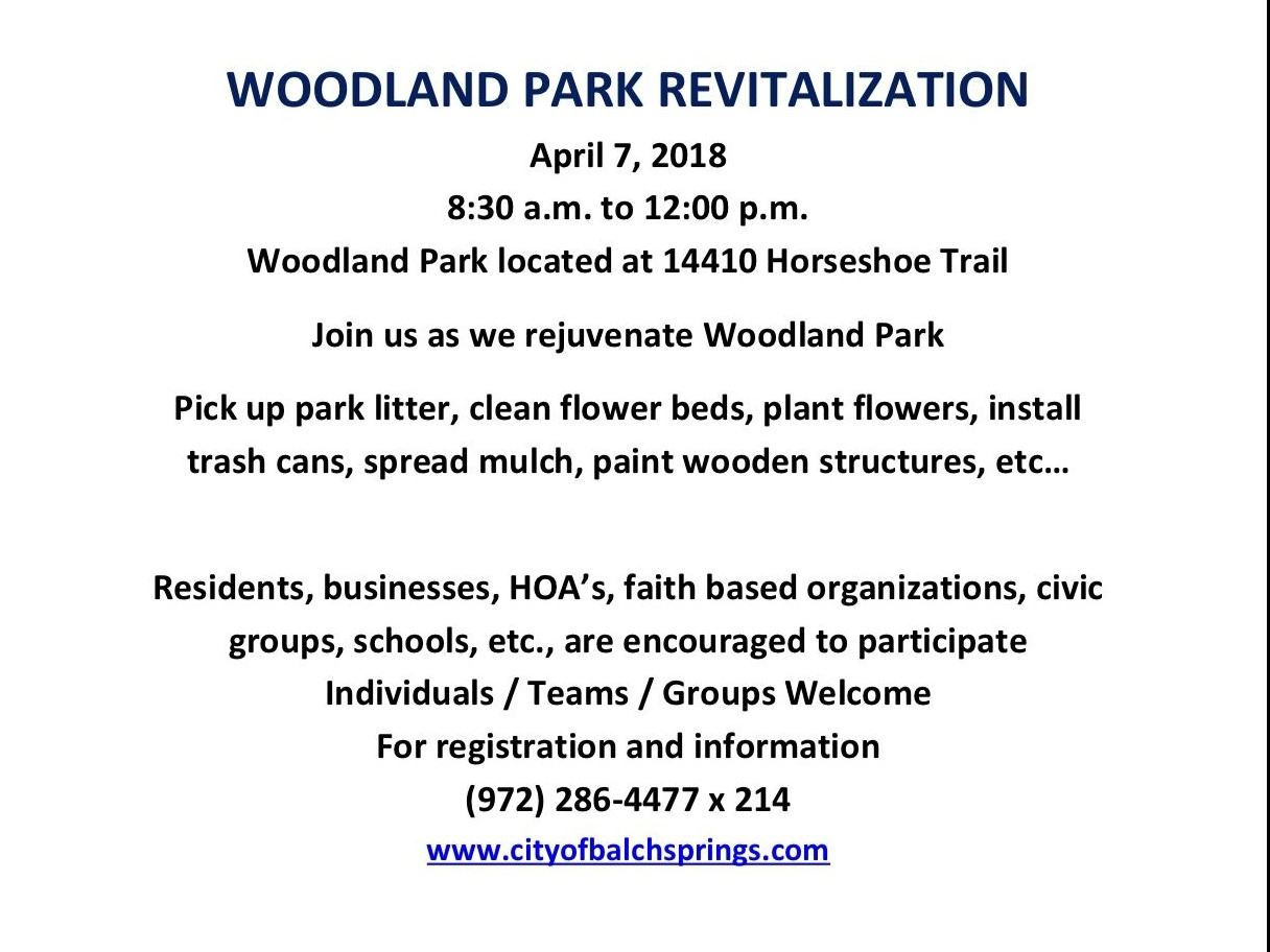 Woodland Park Revitalization flier
