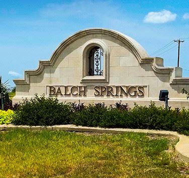 Balch Springs TX concrete sign