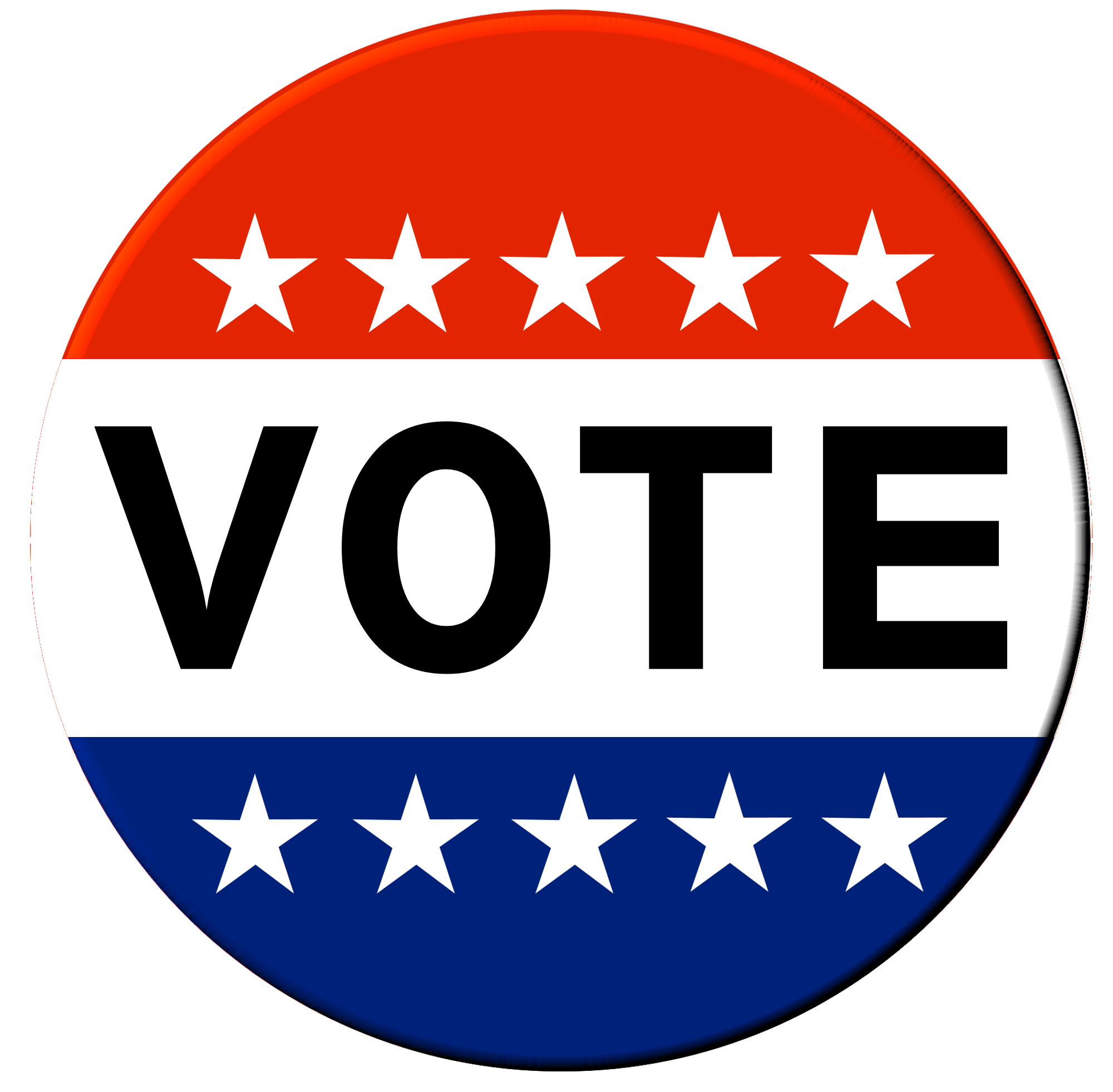 Red, White, Blue Election Vote Button
