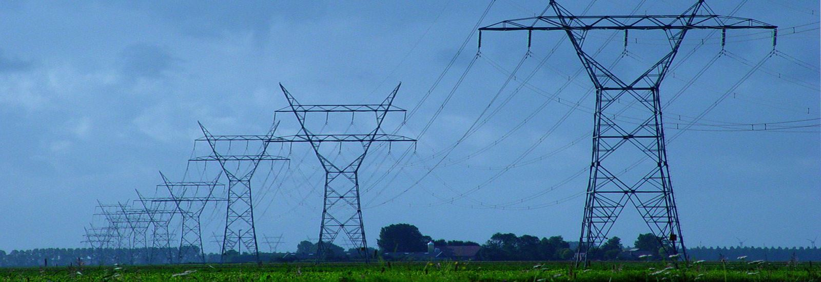 High tension transmission lines running through green field with trees